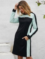 Smooth Black Contrast Color Long Sleeve Midi Dress For Vacation
