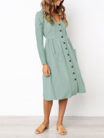 Curve Smoothing Light Green Midi Dress Pockets Pleated Long Sleeve