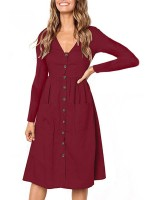 Fit Wine Red Ruched Waist Solid Color Midi Dress Understated Design