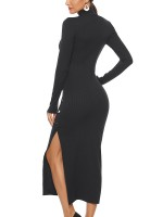Breathable Black Solid Color V-Neck Midriff Skirt Suit Soft-Touch Fashion Essential