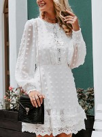 Amazing White Lace Trim Hollow Out Midi Dress On-Trend Fashion