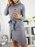 Alluring Light Gray Heap Collar Midi Dress Solid Color For Couple
