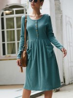 Gorgeous Green Side Pocket Front Button Knit Dress All-Match Fashion