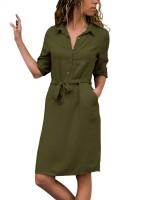 Daring Army Green Solid Color Midi Dress Shirt Collar Great Quality