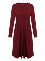Fashion Wine Red Elastic Waist Midi Dress Full Sleeve At Great Prices‎