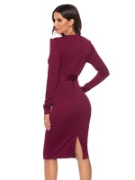 Sweet Burgundy Midi Dress Full Sleeves Waist Knot For Lover