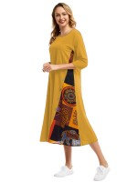 Exquisite Yellow Midi Dress Round Collar Big Size For Stunner
