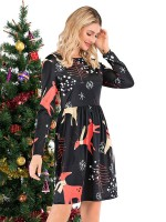 Well-Suited Elastic Waist Midi Dress Full Sleeve Forward Women