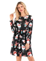 Illusion Christmas Paint A-Line Midi Dress For Ladies