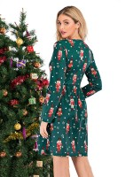 Glorious Polka Dots Midi Dress Long Sleeve Gentle Fabric