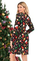 Sensual Curves Round Collar Long Sleeve Midi Dress For Stunner