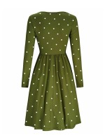 Flowery Army Green Full Sleeve Ruched Buttons Midi Dress Ultimate Comfort