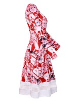 Fabulous Santa Claus Print Crew Neck Midi Dress Ladies Grace