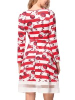 Intriguing Christmas Paint Midi Dress Patchwork Comfort Fashion