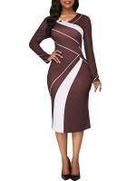 Ultra Hot Brown Patchwork Big Size Full Sleeve Midi Dress