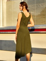 Fabulously Army Green Tie V-Neck Midi Dress Solid Color Super Sexy