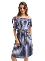 Leisure Puff Short Sleeve Stripe Midi Dress Classic Dress