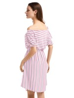 Luscious Curvy Tie Off Shoulder Midi Dress Stripe Girls Fashion