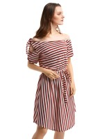 Colorful Curved Hem Stripe Pattern Midi Dress Pullover Style
