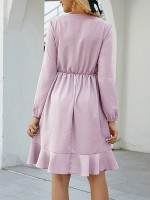 Exquisite Light Purple Elastic Waist Square Neck Midi Dress