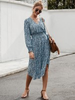 Romantic Blue Lantern Sleeve Midi Dress Leopard Print Leisure Wear