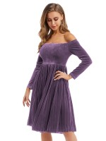Striking Purple Midi Dress Long Sleeve Velvet Latest Fashion
