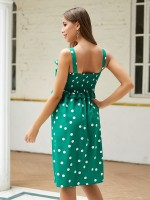 Loose Fitting Green Polka Dot Sling Midi Dress Ruffled Feminine