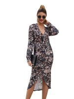 Extraordinary Split Hem Midi Dress Deep V Neck Comfort