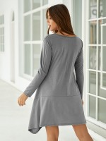 Feminine Curve Gray Solid Color Midi Dress Long-Sleeved Comfort