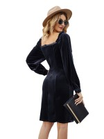 Cheeky Purplish Blue Balloon Sleeve Midi Dress Plain