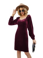 Sultry Jujube Red Sweetheart Neck Midi Dress Zipper