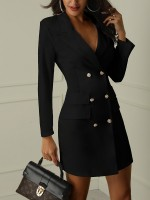 Elegance Black Mini Dress Long Sleeve Turndown Collar Female