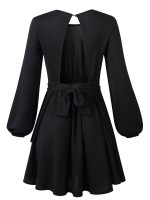 Honey Black Mini Dress Bubble Sleeve Round Collar Ultra Hot
