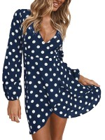 Romantic Dark Blue Mini Dress Deep-V Neck Full Sleeve Form Fitting