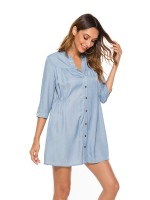 Brilliant Blue 3/4 Sleeves Split Neck Mini Dress Feminine Curve