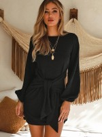 Gorgeous Black Crew Neck Knit Mini Dress Knotted Superior Comfort