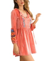 Illusion Pink Smocked Waist Embroidery Mini Dress High Elasticity