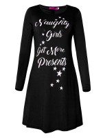 Intriguing Crew Neck Letter Print Mini Dress Supper Fashion
