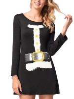 Affordable Mini Dress Crew Neck Cartoon Pattern Chic Online