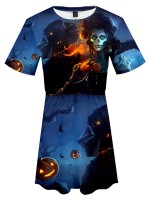 Lovely Halloween Pattern Mini Dress Big Size Ultra Cheap