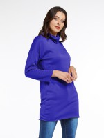 Elaborate Royal Blue Drop Shoulder High Neck Mini Dress Chic Trend