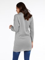 Loose Gray Solid Color Mini Dress Long Fit Casual Women