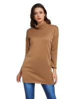 Ladies Yellow Mini Dress Solid Color Turtleneck Garment