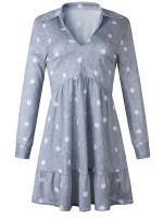 Romance Gray Polka Dot Ruffle V Neck Mini Dress Going Out Outfits