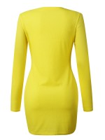 Excellent Yellow Round Neck Mini Dress Long Sleeve Fabulous Fit
