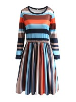 Adorable Full Sleeves Mini Dress Stripe Printed Ladies Grace