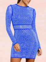 Splendid Blue Geometric Print Mini Dress Sheer Mesh For Fashion