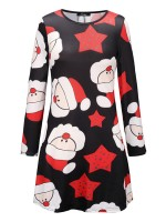 Fresh Santa Claus Print A-Line Mini Dress Pullover