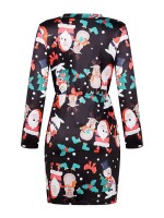 Bewildering Black Christmas Print Mini Dress Full Sleeve Ladies Elegance