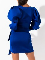 Body Hugging Blue Mini Dress Puff Long Sleeves Big Size Feminine Confidence